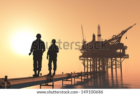 Silhouettes of workers in the oil tube station. - stock photo