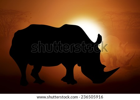 Silhouettes rhino against the sunset in Africa - stock photo