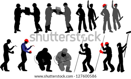 Silhouettes worker to building profession on transparent background - stock photo