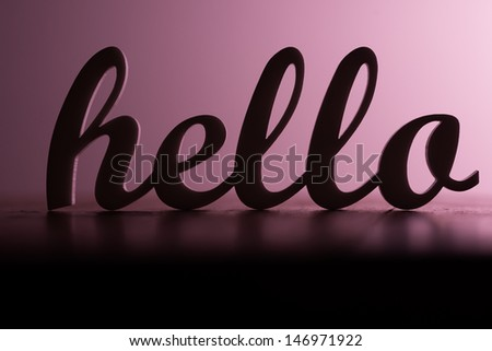 Silhoute of Hello Sign - stock photo