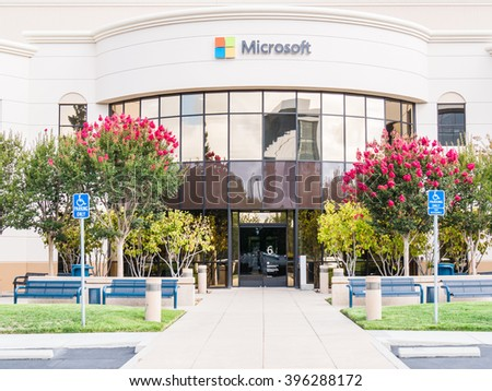SILICON VALLEY, USA - SEPTEMBER 17: Microsoft building on September 17, 2015 in Silicon Valley, California, United States. It is home to many of the world's largest high-tech corporations. - stock photo