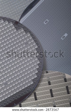 Silicon wafers with chips - stock photo