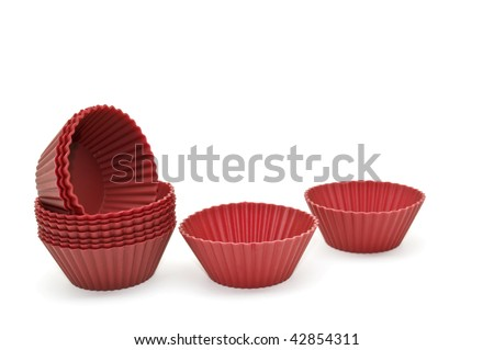 Silicone bakeware set isolated on a white background. - stock photo