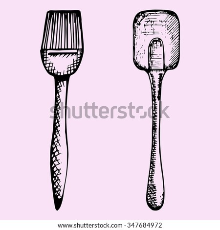 silicone brush for baking and cooking and spatula, doodle style, sketch illustration, hand drawn, raster - stock photo
