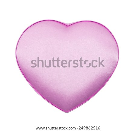 Silk box in the form of heart, pink, isolated on the white - stock photo