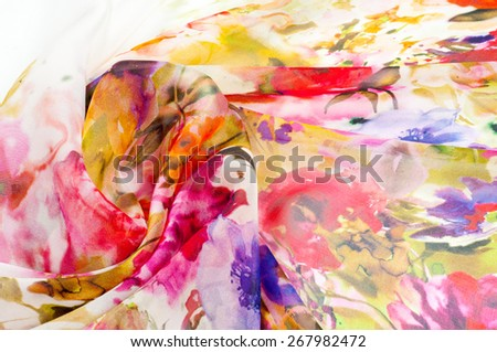 Silk fabric texture. flowers    Photography Studio - stock photo