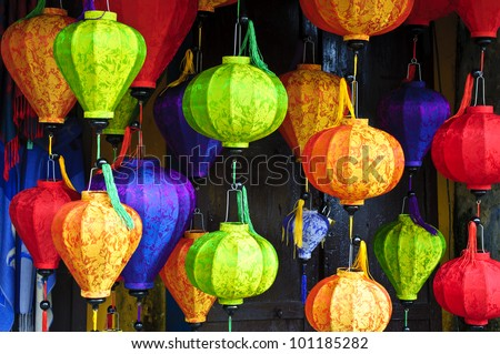 Silk lanterns in Hoi An city, Vietnam