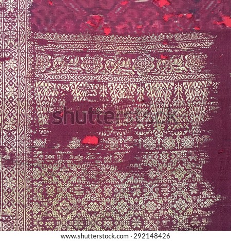 Silk more than 250 years old Colorful thai silk handcraft peruvian style surface close up More this  textiles peruvian stripe beautiful background tapestry detail pattern farabic fashionable - stock photo