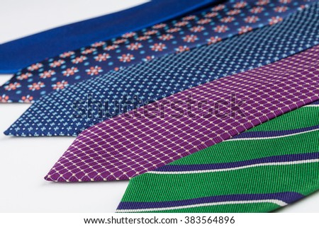 Silk neckties set various models and colors concept photograph