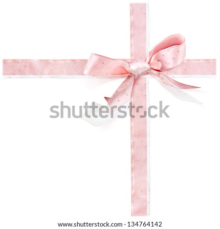 Silk Pink Bow Decorated with Paillettes as for Present isolated on a white background - stock photo