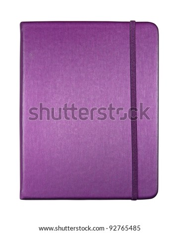 silk purple color cover note book isolated on white background - stock photo