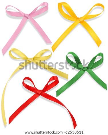 silk, satin bow on white background 2 - stock photo