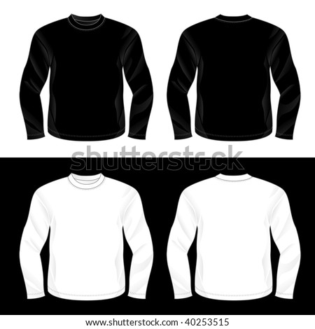Silkscreen series. Black and white realistic blank long sleeve t-shirt templates (front and back). - stock photo
