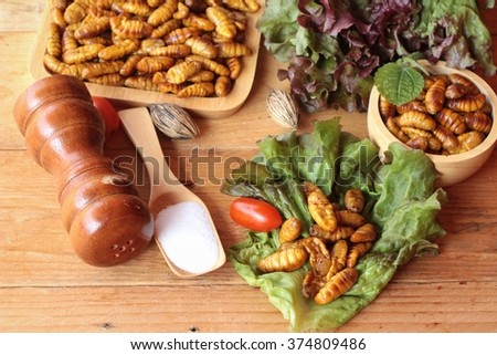 Silkworm pupae - stock photo