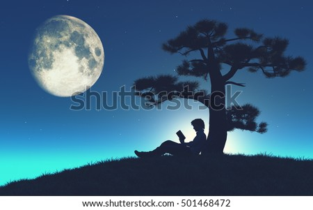 Sillouthe of a young man reading a book under a tree in the moonlight. This is a 3d render illustration