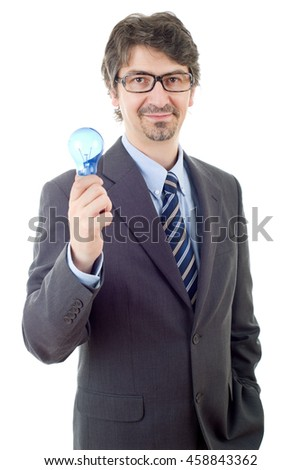 silly business man with a lamp isolated on white - stock photo