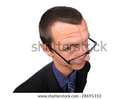 silly businessman over white background - stock photo