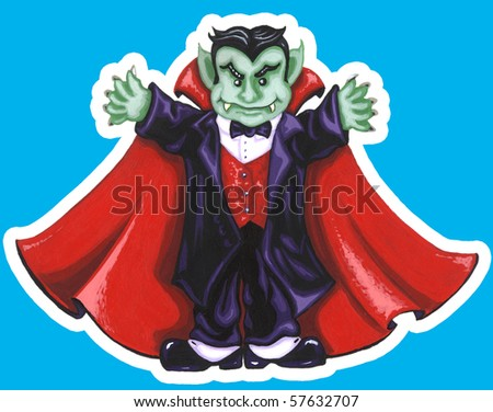 Silly Dracula Painting - stock photo