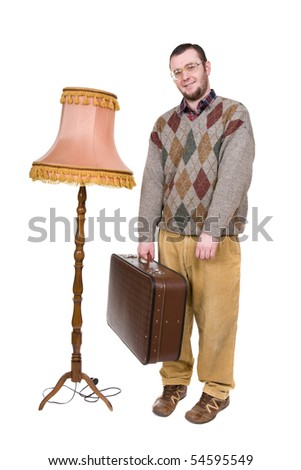 silly nerd over white background - stock photo