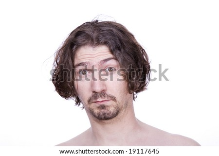 silly young casual man, close up portrait - isolated