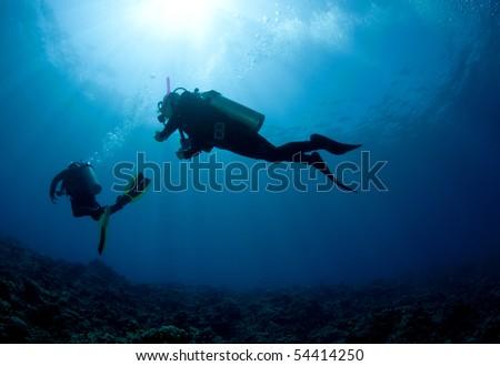 silouetted scuba diver - stock photo