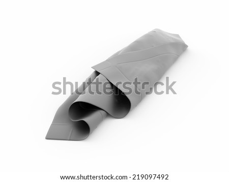 Silver abstract cloth rendered on white background