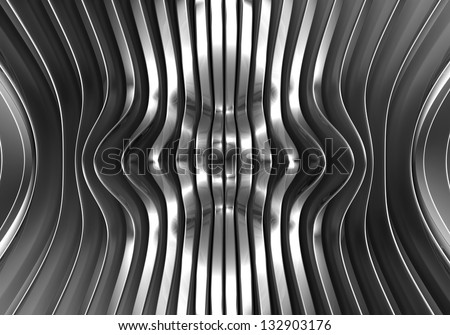 Silver abstract stripe metal background 3d illustration