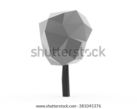Silver abstract trees concept rendered on white background isolated