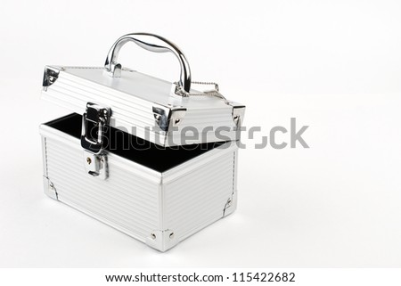 Silver aluminum box for storage of cosmetics