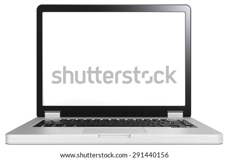Silver and black Laptop. Laptop of brushed steel and black. No branded. Blank screen for copy space. - stock photo