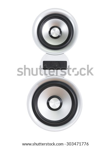 silver and black  loudspeaker isolated on white background, clipping path - stock photo