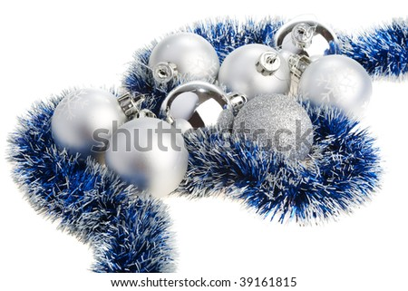 Silver and blue Christmas decoration - stock photo