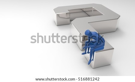Silver And Blue 3D Illustration Of A Mannequin Person Sitting And Thinking On A Giant Question Mark