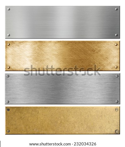 silver and brass metal plates or plaques with rivets isolated set - stock photo