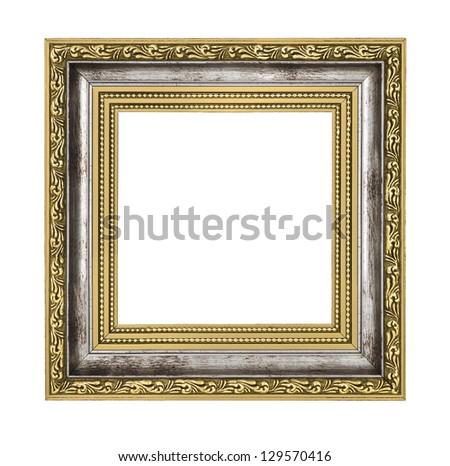 silver and gold frame isolated on white background - stock photo