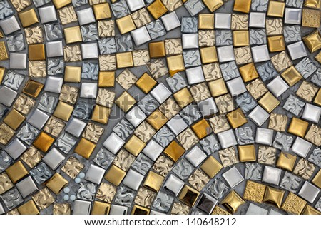Silver and gold surfaces. - stock photo