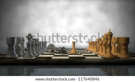 silver and golden chess set - stock photo