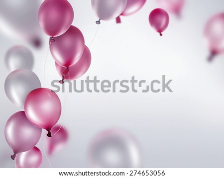 silver and pink balloons on light background - stock photo