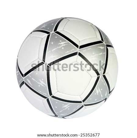 silver and white soccer ball on a white background