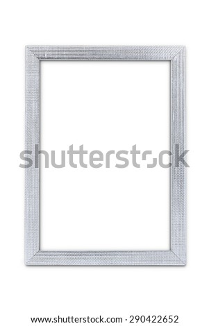 Silver arts pattern picture frame isolated on white with clipping path - stock photo