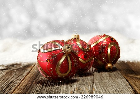 silver background for text and red balls of xmas time