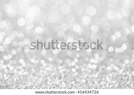 Silver background, Silver glitter bokeh abstract background, Defocused abstract silver background - stock photo