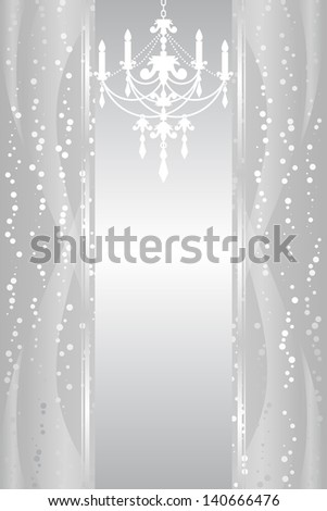 Silver background with chandelier - stock photo