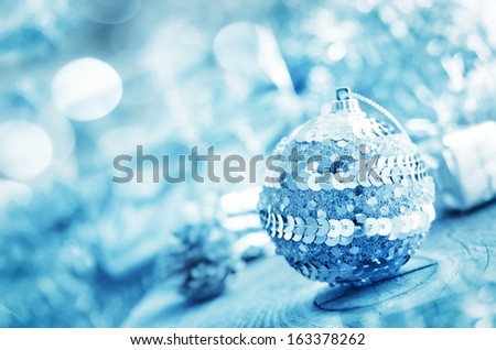 silver ball and other cristmas decoration. - stock photo
