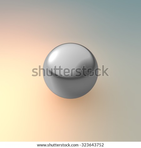 silver ball on background with metal material  - stock photo