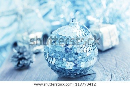 Silver balls and cristmas decoration - stock photo