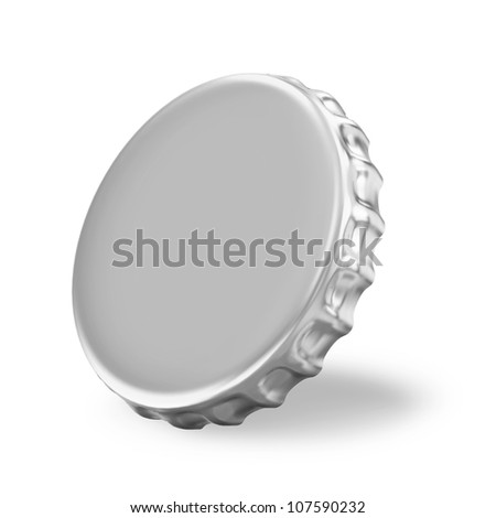 Silver Beer Cap on white background - stock photo
