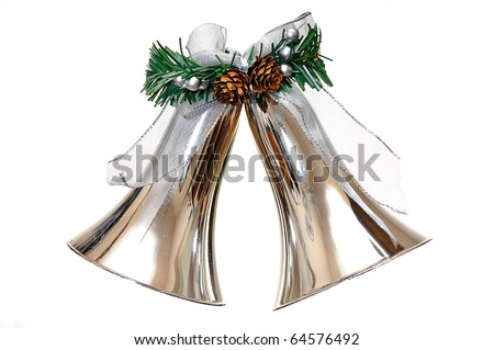 Silver bells Christmas ornament isolated on white background. - stock photo