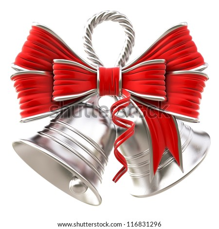 silver bells with a red bow. isolated on white. - stock photo