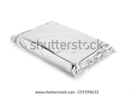 Silver blank snack package on white background